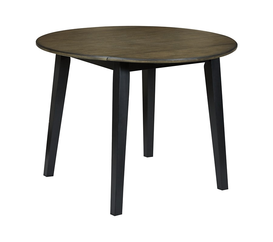 Froshburg - Grayish Brown/Black - Round Drop Leaf Table