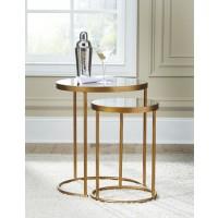 Majaci Gold Finishwhite Accent Table Set Of 2 A4000048