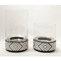 Dornitilla - Black/White - Candle Holder Set (2/CN)