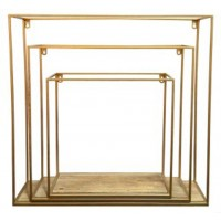 Efharis - Natural/Gold Finish - Wall Shelf Set (3/CN)
