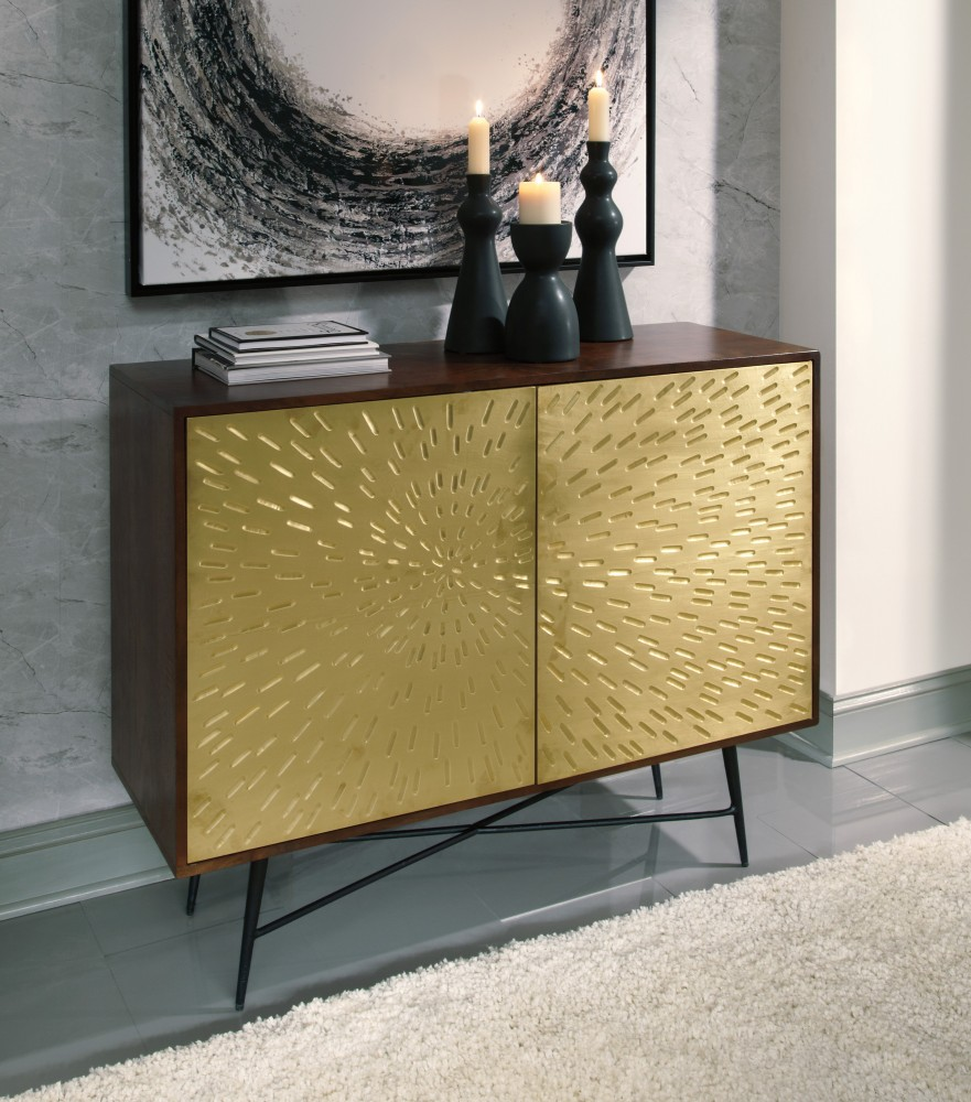 Majaci Brown Gold Accent Cabinet A4000052 Accent