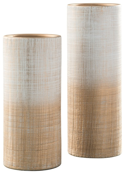 Dorotea - Gold Finish/White - Vase Set (2/CN)