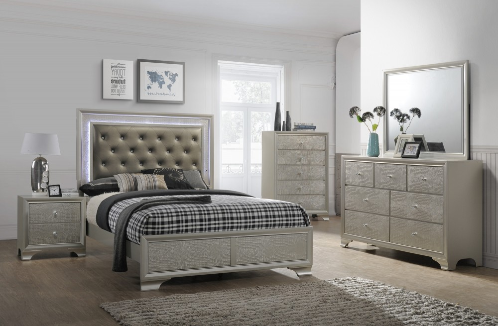 Bedroom Sets.Nikola Bedroom Set Dresser Mirror Queen Bed 4300 Bedroom Sets