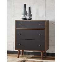 Daneston - Brown/Graphite - Three Drawer Chest