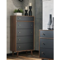 Daneston - Brown/Graphite - Five Drawer Chest