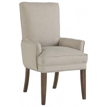 Grindleburg - White/Light Brown - Dining UPH Arm Chair (2/CN)