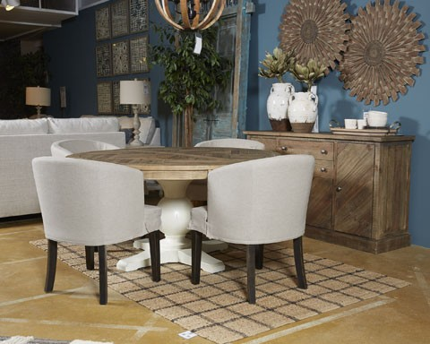 Grindleburg   White/Light Brown   Round Dining Room Table Top