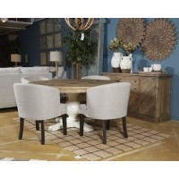 Grindleburg - White/Light Brown - Round Dining Room Table Top
