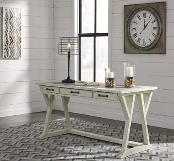 jonileene white gray home office large leg desk h642. Black Bedroom Furniture Sets. Home Design Ideas