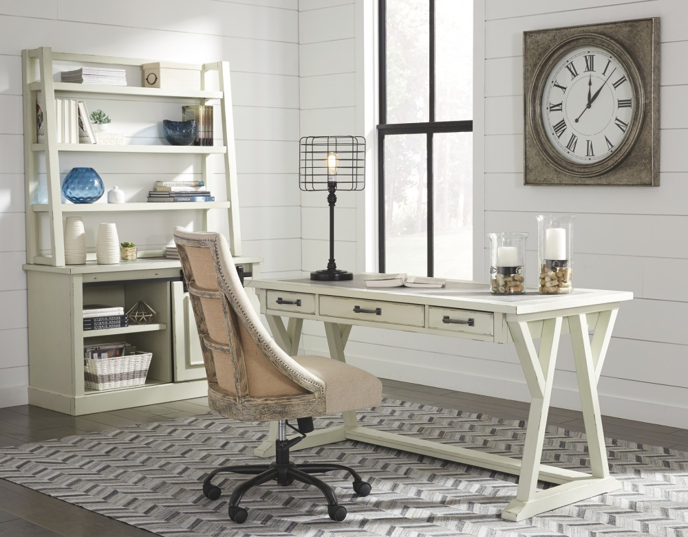 Jonileene White Gray Home Office Large Leg Desk H642