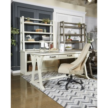 Jonileene - White/Gray - Home Office Tall Desk Hutch