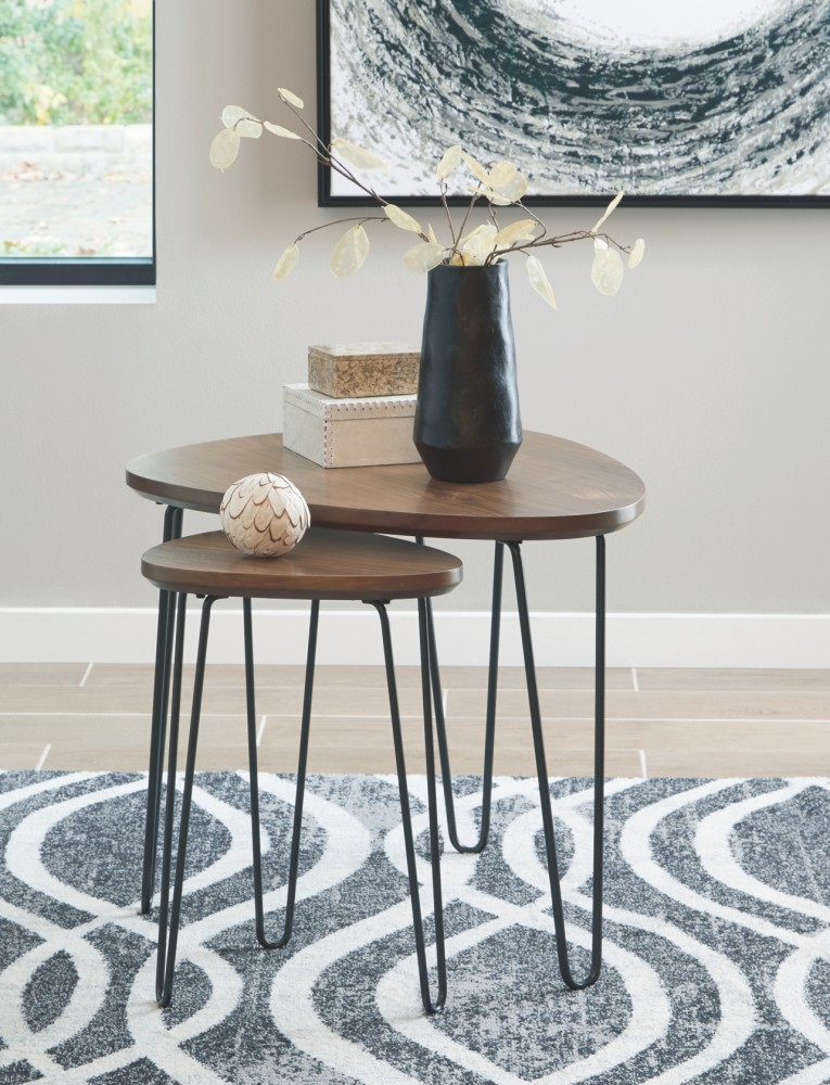 Courager BrownBlack Triangle End Table T End Tables - Black triangle end table