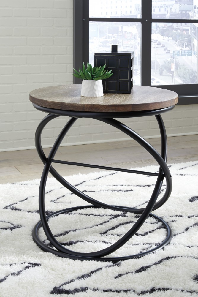 Charliburi   Brown/Black   Round End Table