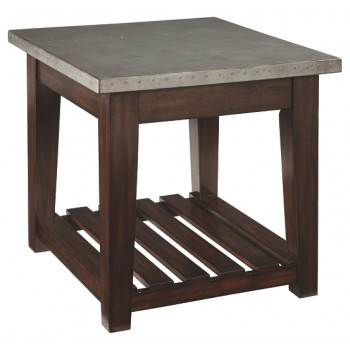 Bynderman - Brown/Silver Finish - Rectangular End Table
