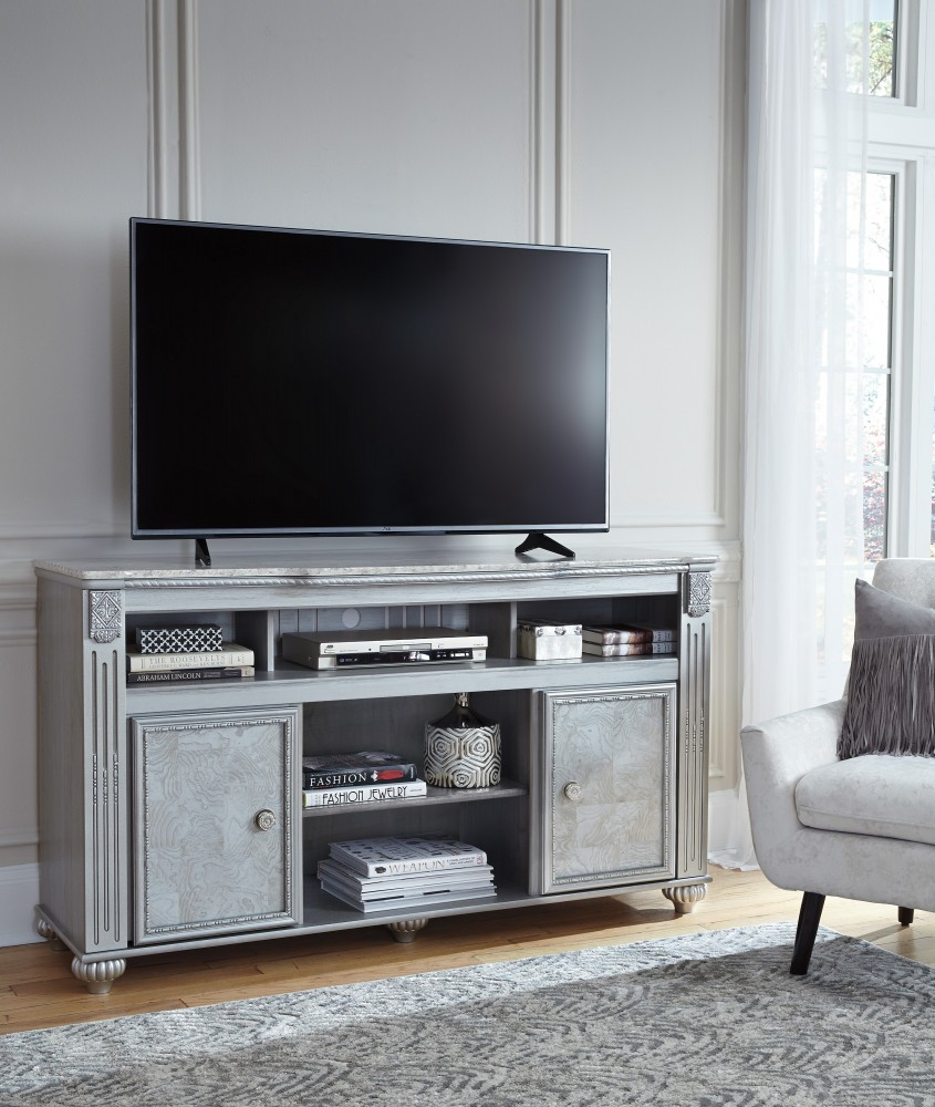 Zolena - Champagne - LG TV Stand w/Fireplace Option