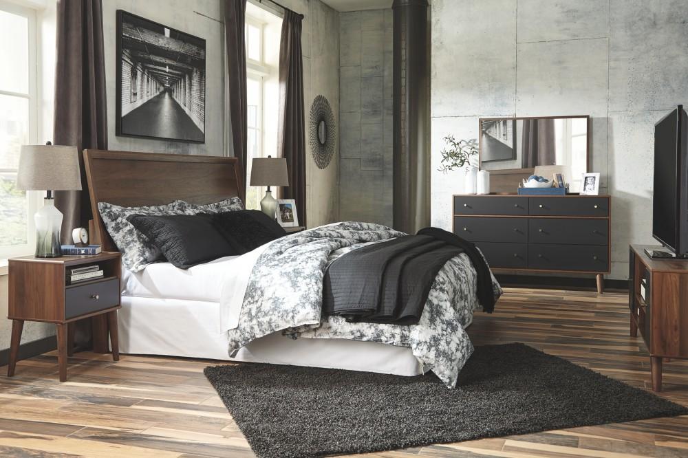 daneston brown graphite one drawer night stand night. Black Bedroom Furniture Sets. Home Design Ideas