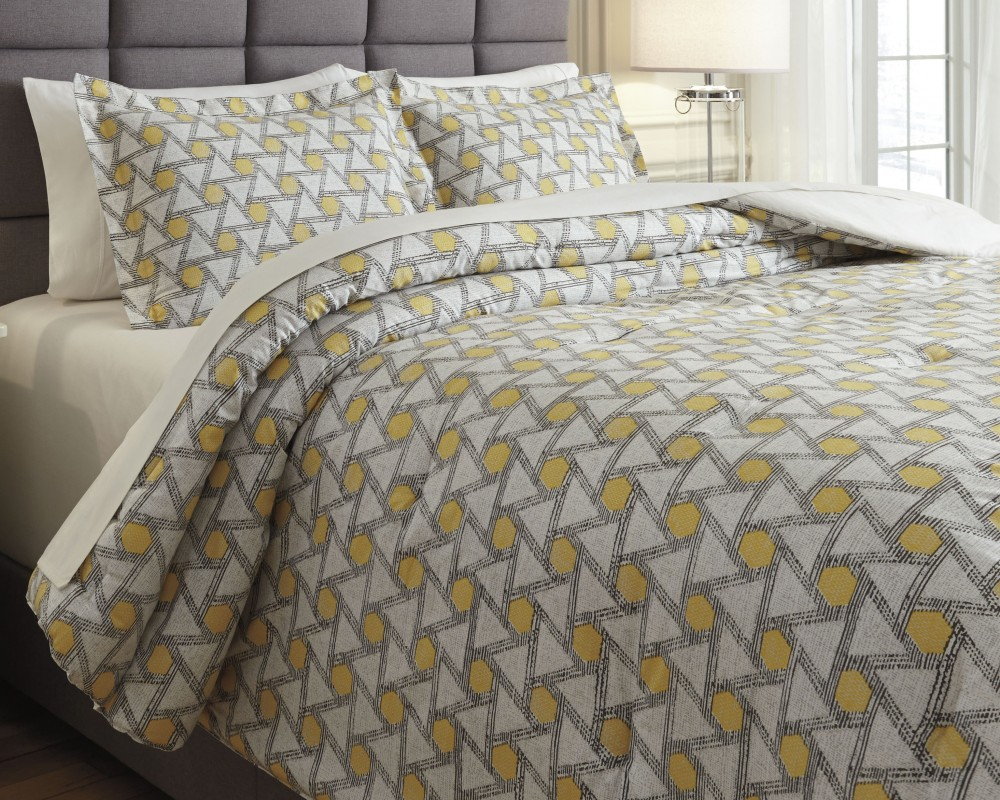 Clio - Yellow/Black - King Comforter Set