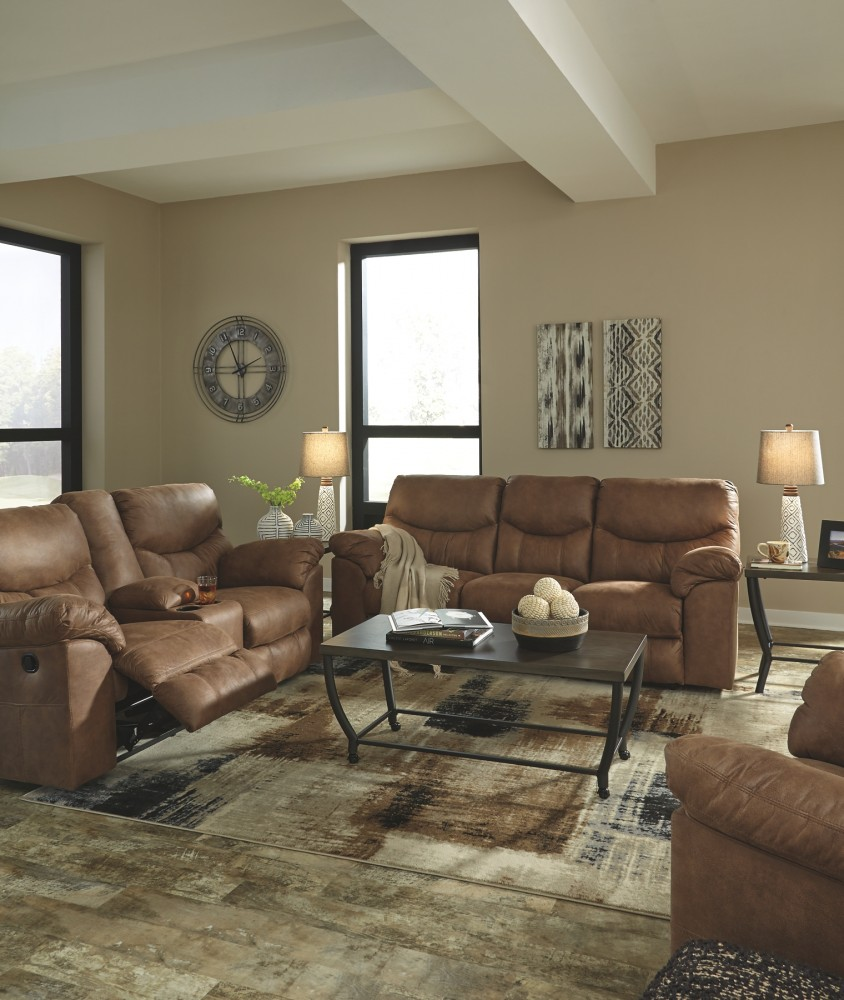 Lounge Or Sitting Room Cover With Tv Console Sofa: Boxberg - Bark - DBL Rec Loveseat W/Console