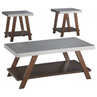 Bellenteen - Brown/Silver Finish - Occasional Table Set (3/CN)