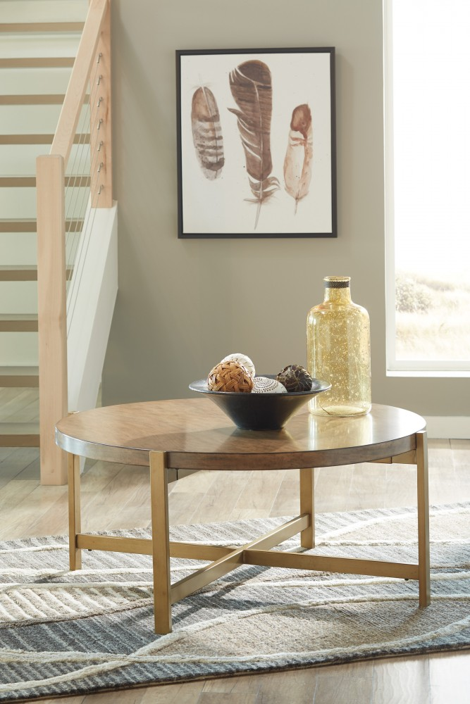 Franston   Light Brown   Round Cocktail Table