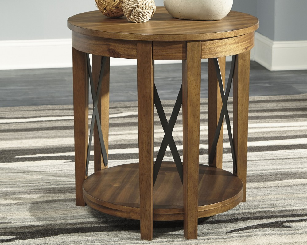 Emilander Light Brown Round End Table T433 6 End Tables Affordable Rent To Own Az