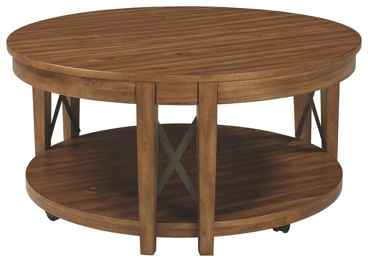 Emilander - Light Brown - Round Cocktail Table