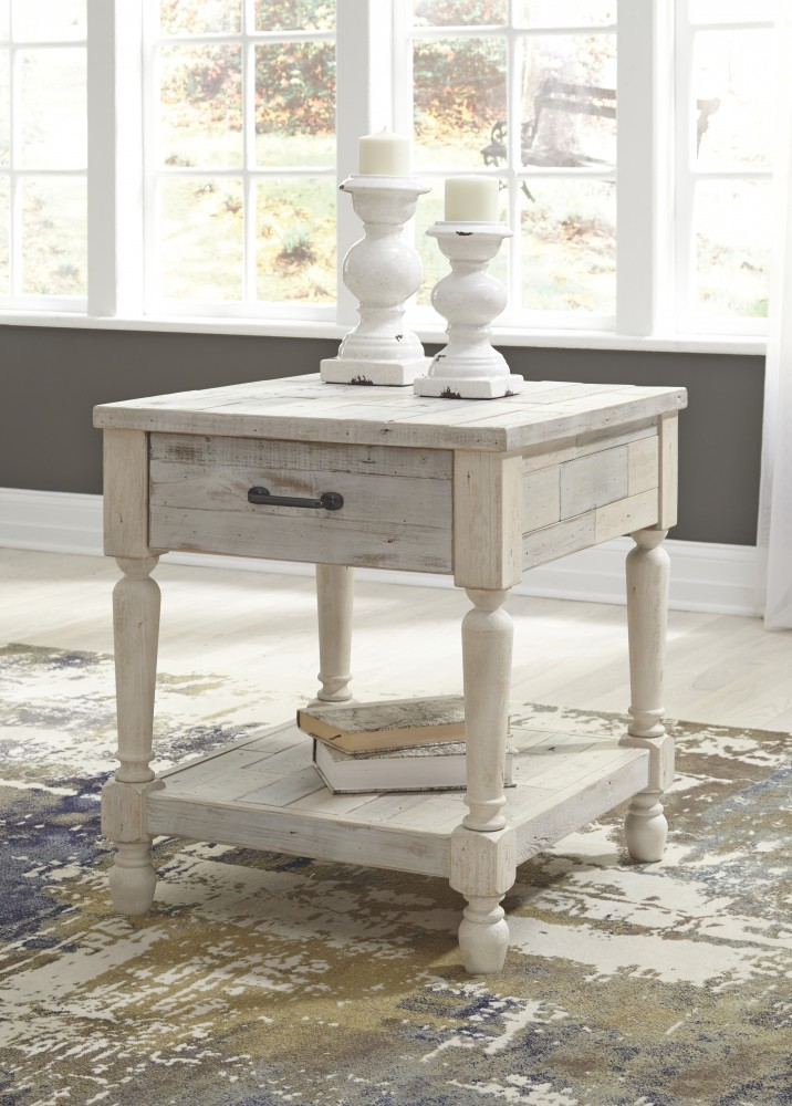 Shawnalore - White Wash - Rectangular End Table