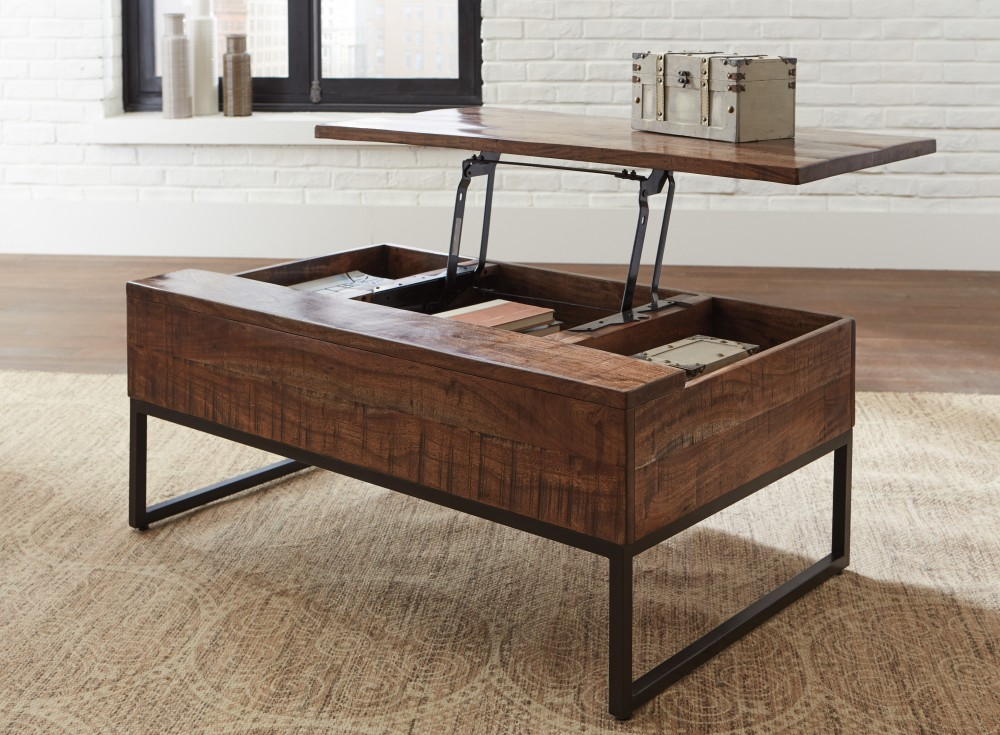Hirvanton Warm Brown Lift Top Cocktail Table T842 9