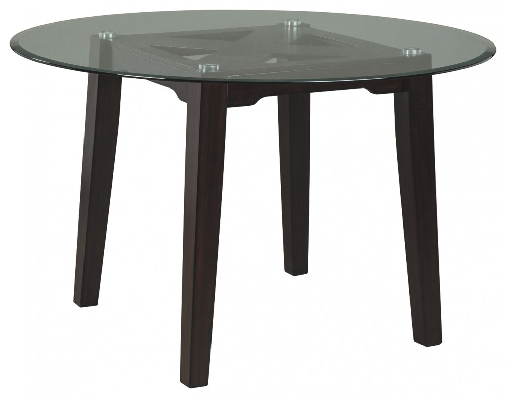 Round glass top Mirror Table Chanceen Dark Brown Round Glass Top Table Travers Furniture And Carpet Chanceen Dark Brown Round Glass Top Table D38715 Tables
