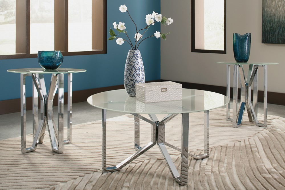 Tangeline - Brushed Nickel Finish - Occasional Table Set (3/CN ...