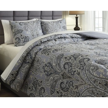 Susannah - Blue/Cream - King Comforter Set