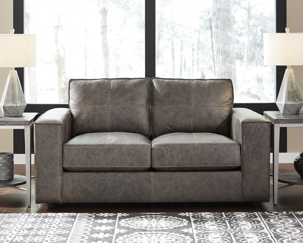 Trembolt smoke loveseat leather love seats pruitt for Pruitts bedroom sets