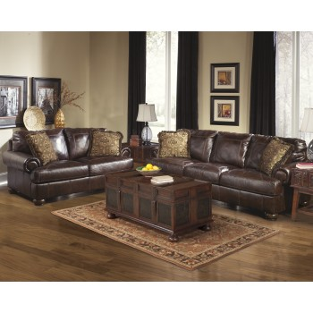 Axiom - Walnut - Sofa & Loveseat
