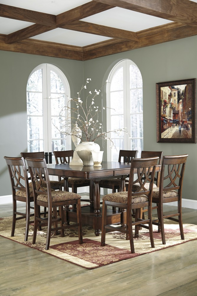Leahlyn 7pc pub table 6 chairs d436124632 dining room pub table 6 chairs watchthetrailerfo