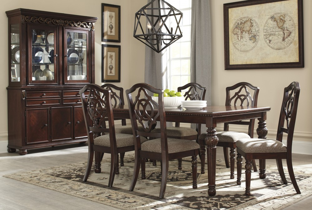Leahlyn - RECT Dining Room EXT Table, 6 UPH Side Chairs & China Cabinet