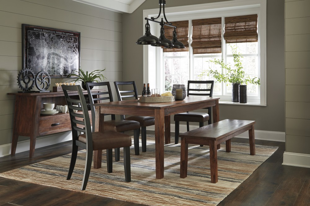 Manishore   Rectangular Dining Room Table, 4 UPH Side Chairs U0026 1 Bench