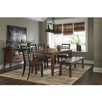 Manishore - Rectangular Dining Room Table, 4 UPH Side Chairs & 1 Bench