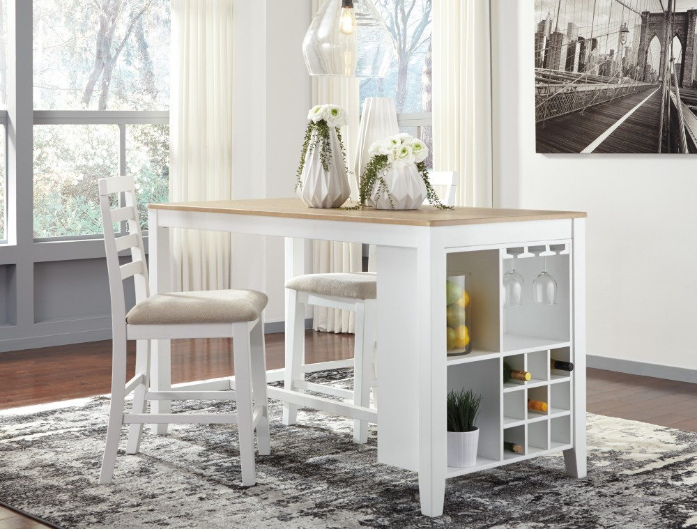 Gardomi - White/Light Brown - RECT Dining Room Counter Table & 2 UPH Barstools