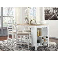 Gardomi - White/Light Brown - RECT Dining Room Counter Table & 4 UPH Barstools