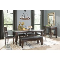 Larchmont - Rectangular Dining Room Table, 4 UPH Side Chairs & 1 UPH Bench