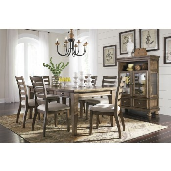 Flynnter - Rectangular Dining Room Table & 6 UPH Side Chairs