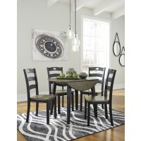 Froshburg - Round Drop Leaf Table & 4 Side Chairs