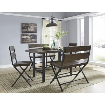 Kavara - RECT Dining Room Counter Table, 2 Barstools & 2 Double Barstools