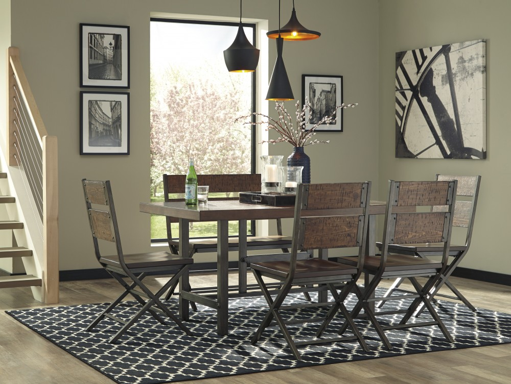 Kavara - Rectangular Dining Room Table, 4 Dining Chairs & 1 Double Barstool