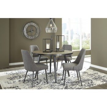 Coverty - Round Dining Room Table & 4 UPH Side Chairs