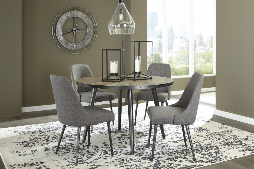 Superior Coverty   Round Dining Room Table U0026 4 UPH Side Chairs