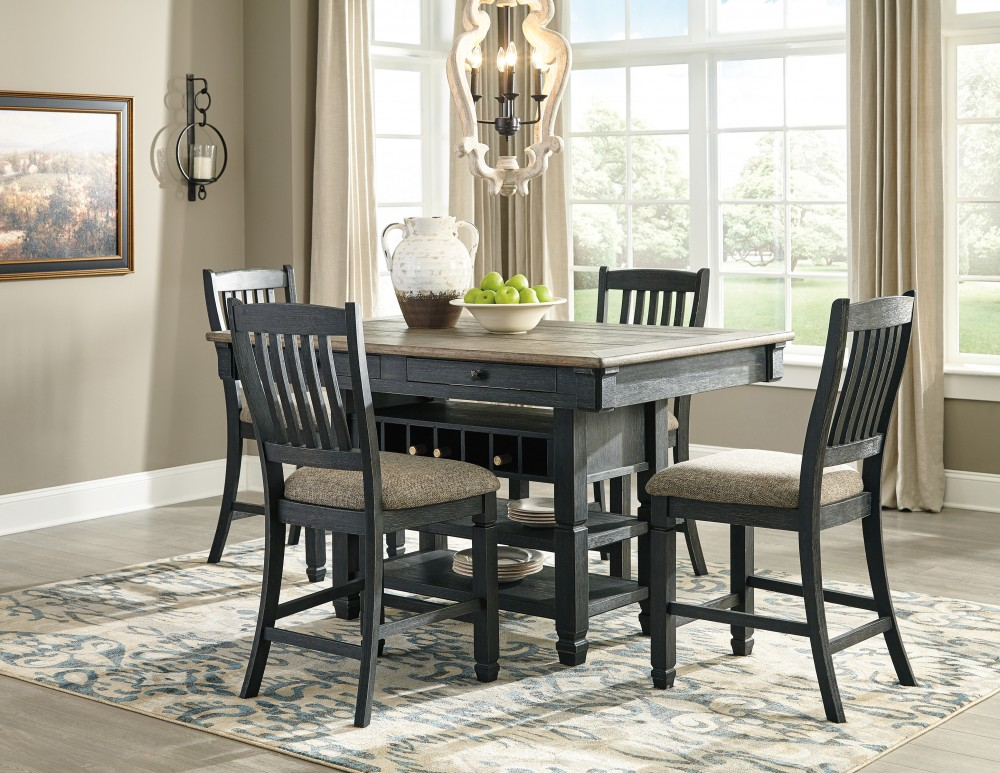 Tyler Creek - RECT Dining Room Counter Table & 4 UPH Barstools