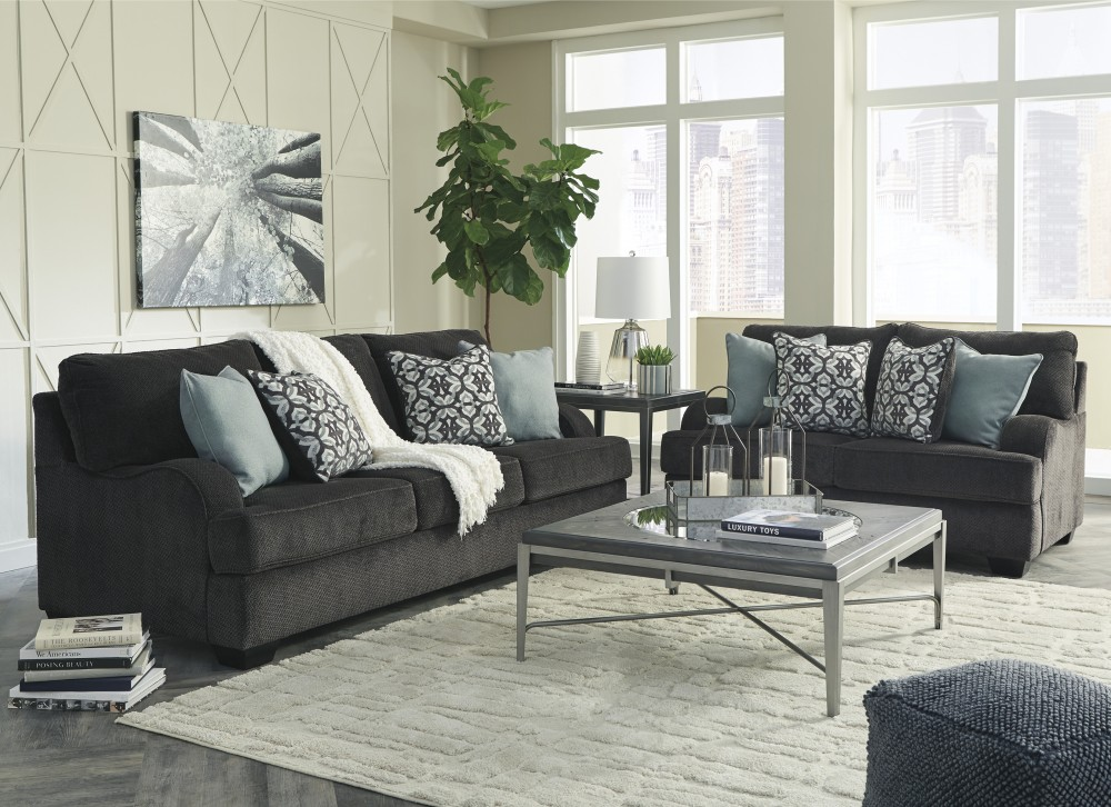 Charenton Charcoal Sofa Loveseat 14101 38 35 Living Room