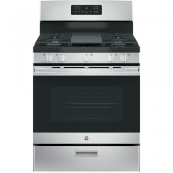 GE STAINLESS STEEL 5 BURNER GAS RANGE