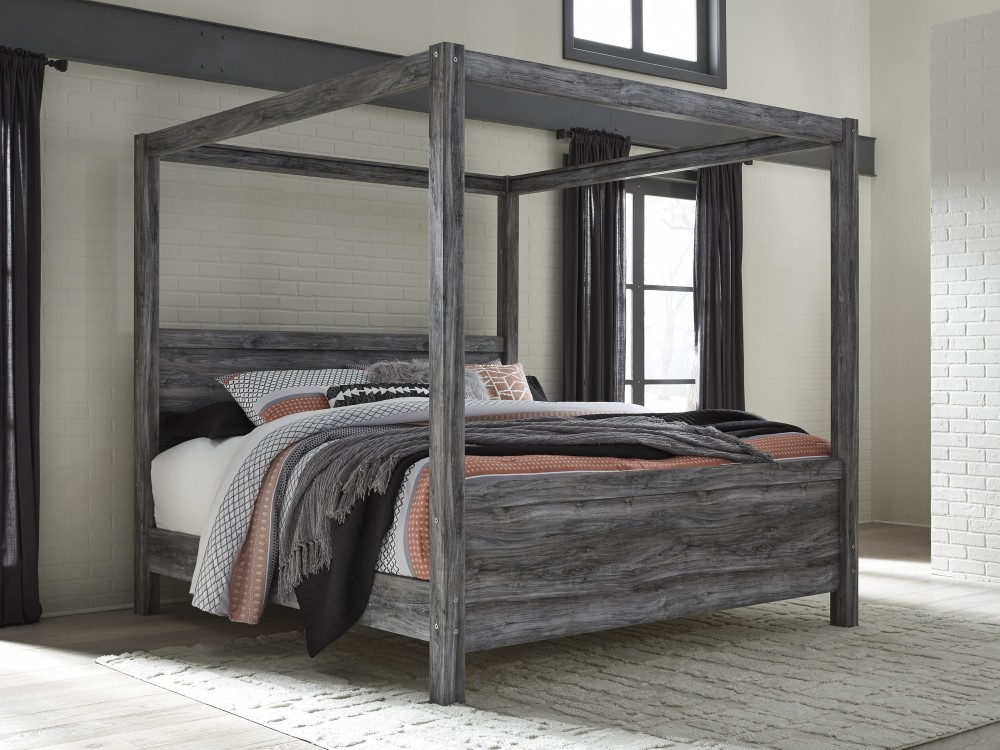 Canopy Bed.Baystorm Gray King Canopy Bed
